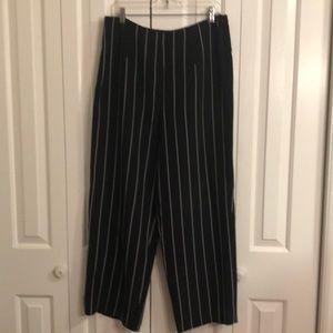 Talbots sz 14 blue and white pinstripe silk pants